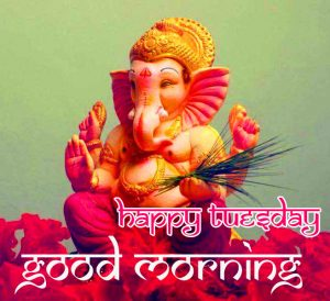 Good Morning Happy Tuesday Wish with Cute Ganesha Statue