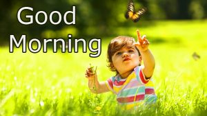 Cute Baby with Nature and Good Morning Wish
