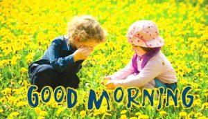 Lovely Girl and Boy in Nature with Good Morning Wish