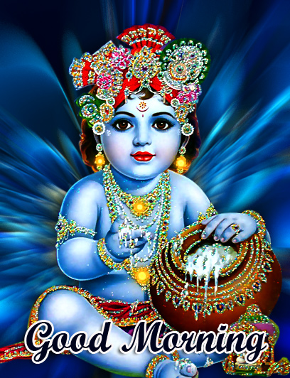 Lovely and Cute Krishna Good Morning Image