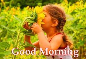 Nature with Cute Girl and Good Morning Wish