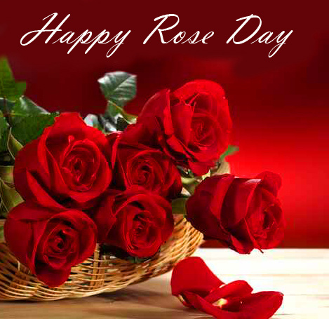 Red Roses Basket with Happy Rose Day Wish