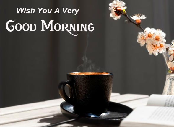 Black Coffee Cup Wish You a Very Good Morning Pic