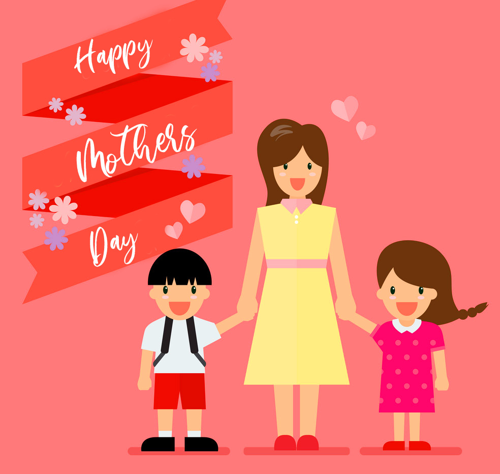 Cute Mom Sticker with Happy Mothers Day Wish