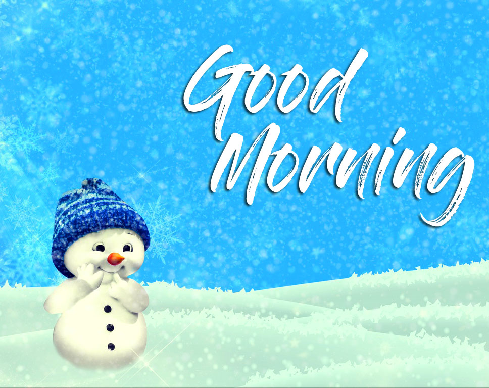 Cute Snow Man Good Morning Winter Picture