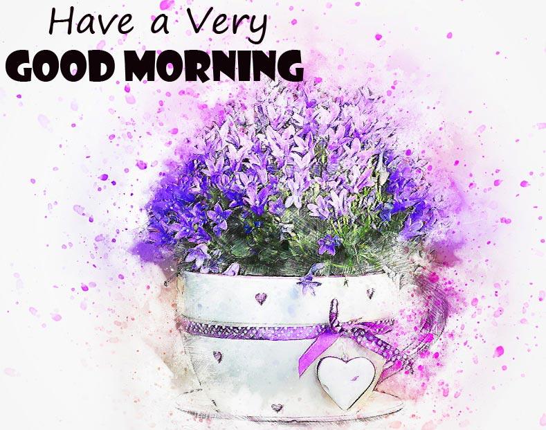 Flowers Painting with Have a Very Good Morning Wish
