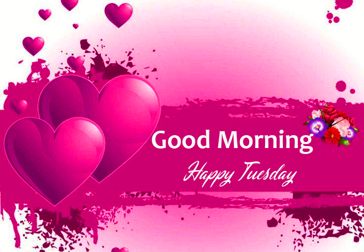 Good Morning Happy Tuesday with Hearts Wallpaper