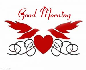 Heart with Love Birds and Good Morning Wish
