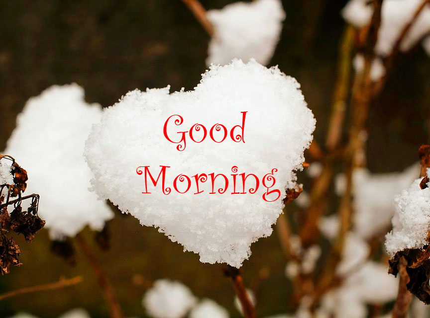 Lovely Snow Heart with Good Morning Wish