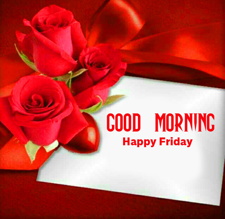 Red Roses with Good Morning Happy Friday Card Wish