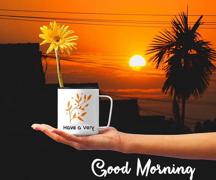 Very Good Morning Flower in Cup Pic