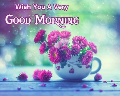 Wish You a Very Good Morning Flowers Cup Wallpaper