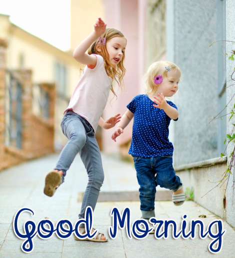 Cheerful Kids Good Morning Picture