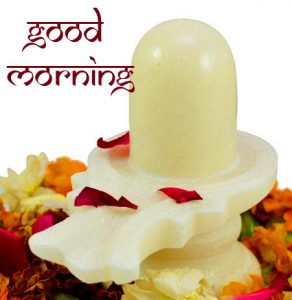 Pure White Shivling Good Morning Image